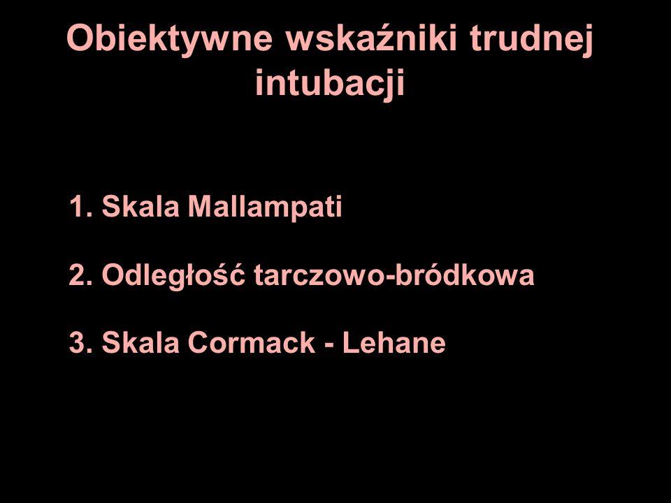 Obiektywne wskaźniki trudnej intubacji 1. Skala Mallampati 2. Odległość tarczowo-bródkowa 3. Skala Cormack - Lehane