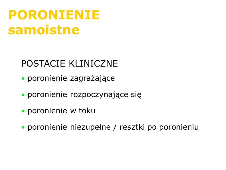 PORONIENIE samoistne POSTACIE KLINICZNE poronienie zagrażające poronienie rozpoczynające się poronienie w toku poronienie niezupełne / resztki po poro