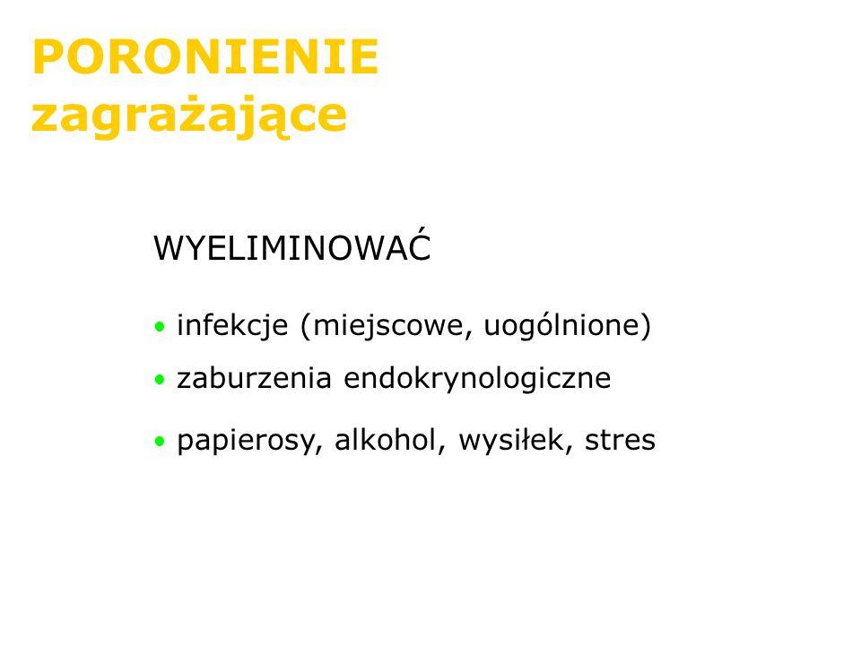 PORONIENIE zagrażające WYELIMINOWAĆ infekcje (miejscowe, uogólnione) zaburzenia endokrynologiczne papierosy, alkohol, wysiłek, stres