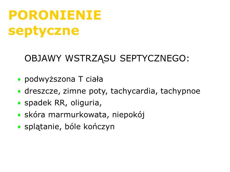 PORONIENIE septyczne OBJAWY WSTRZĄSU SEPTYCZNEGO: podwyższona T ciała dreszcze, zimne poty, tachycardia, tachypnoe spadek RR, oliguria, skóra marmurko