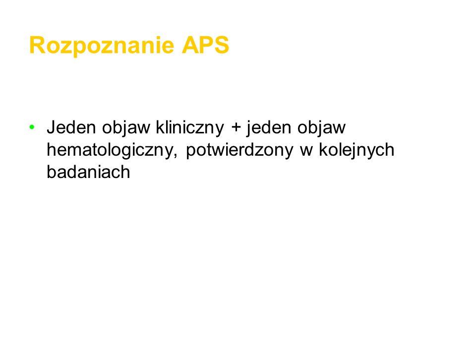 Rozpoznanie APS Jeden objaw kliniczny + jeden objaw hematologiczny, potwierdzony w kolejnych badaniach