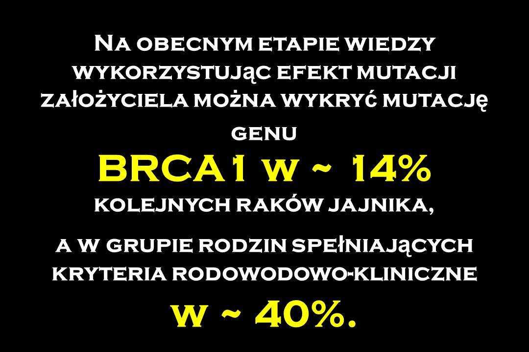 Na obecnym etapie wiedzy wykorzystuj ą c efekt mutacji za ł o ż yciela mo ż na wykry ć mutacj ę genu BRCA1 w ~ 14% kolejnych raków jajnika, a w grupie