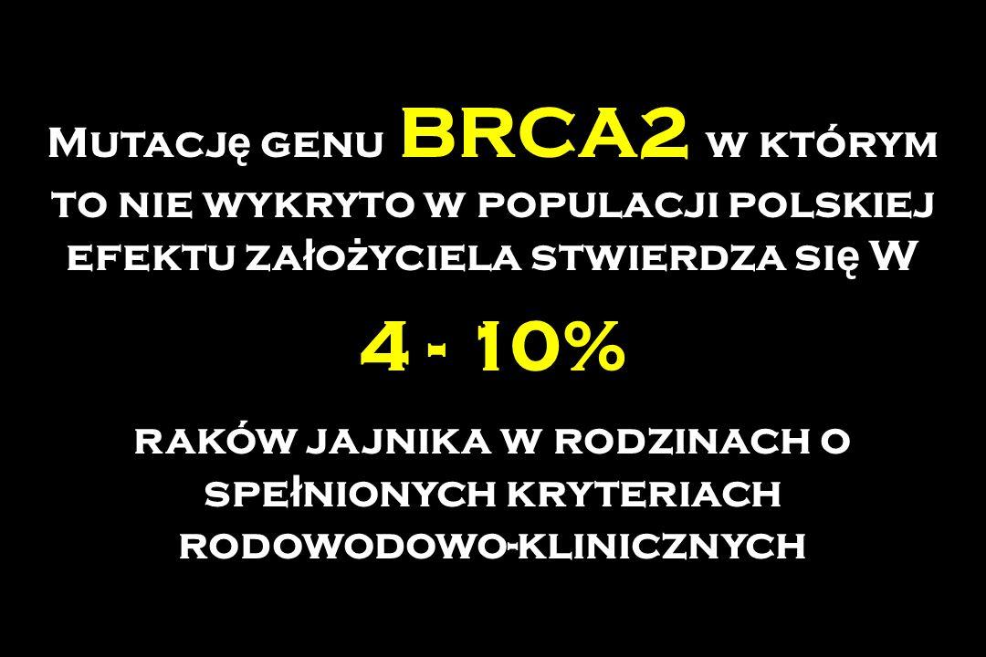 Mutacj ę genu BRCA2 w którym to nie wykryto w populacji polskiej efektu za ł o ż yciela stwierdza si ę W 4 - 10% raków jajnika w rodzinach o spe ł nio