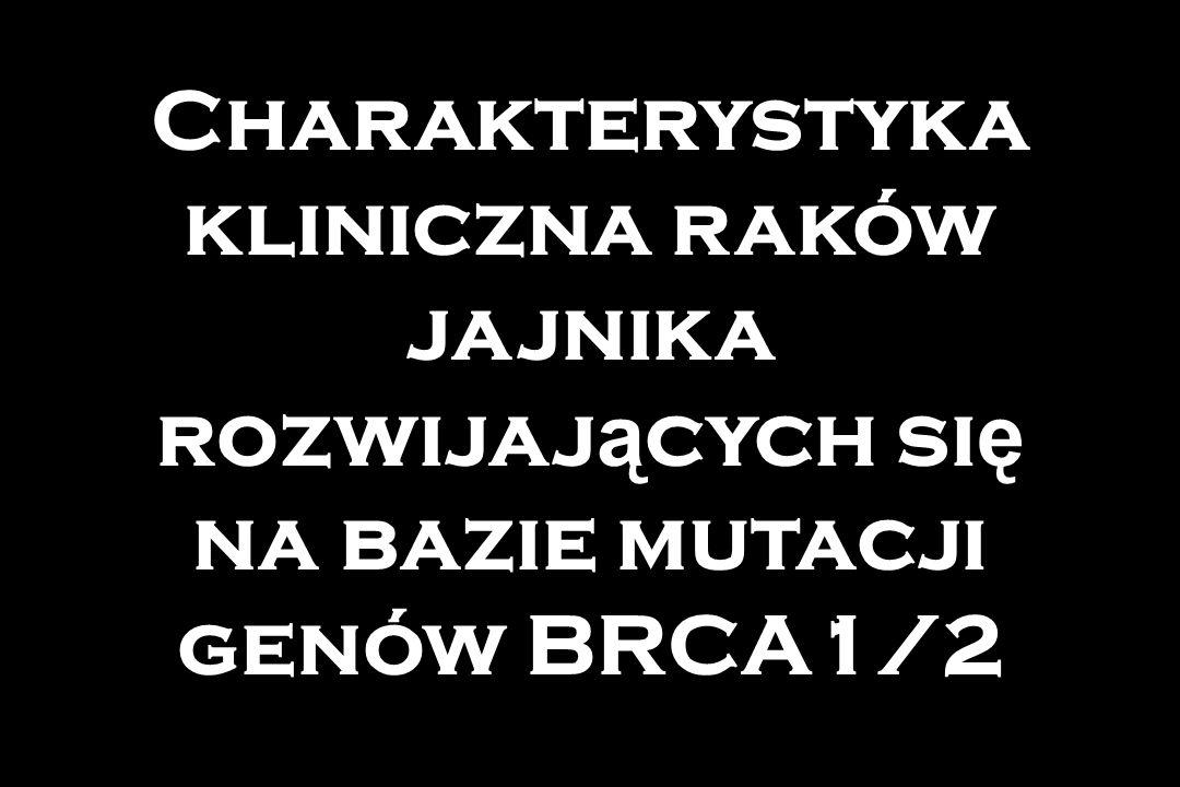 Charakterystyka kliniczna raków jajnika rozwijaj ą cych si ę na bazie mutacji genów BRCA1/2