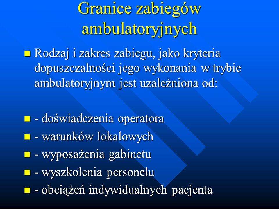 Granice zabiegów ambulatoryjnych Rodzaj i zakres zabiegu, jako kryteria dopuszczalności jego wykonania w trybie ambulatoryjnym jest uzależniona od: Ro