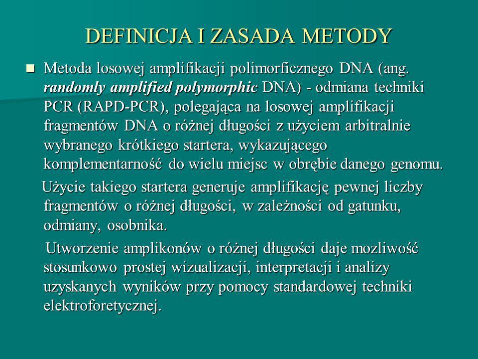 DEFINICJA I ZASADA METODY Metoda losowej amplifikacji polimorficznego DNA (ang. randomly amplified polymorphic DNA) - odmiana techniki PCR (RAPD-PCR),