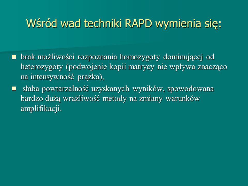 Wśród wad techniki RAPD wymienia się: brak możliwości rozpoznania homozygoty dominującej od heterozygoty (podwojenie kopii matrycy nie wpływa znacząco