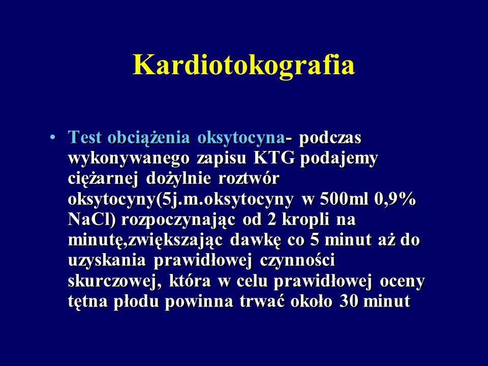 Kardiotokografia Test bez obciążenia (non stress test) występujące w ciągu 20 minut dwa lub więcej przyspieszenia tętna płodu o 15 uderzeń na minutę t
