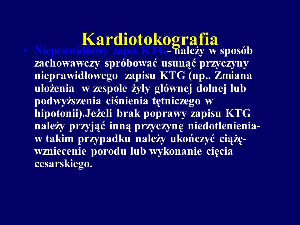 Kardiotokografia Prawidłowy zapis KTG- wskazuje na dobry stan płodu.zależnie od wskazań klinicznych zapis KTG wykonujemy w odstępach kilkugodzinnych l