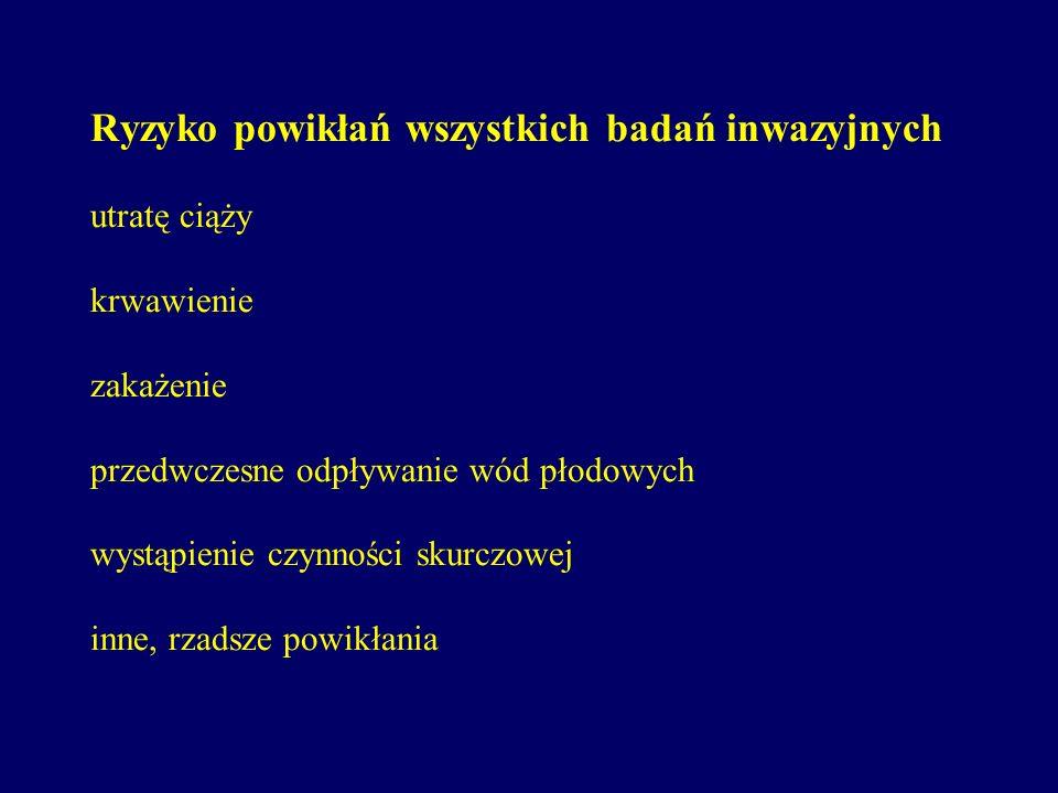 Amniopunkcja genetyczna Pobranie wód płodowych od ok. 13 do 19-20 tygodnia ciąży i badanie cytogenetyczne komórek płodu (ocenę kariotypu płodu). Amnio