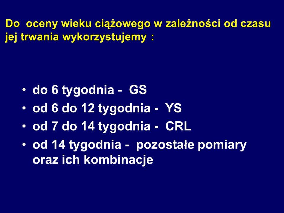 W określeniu wieku ciążowego stosuje się następujące grupy parametrów : I.Pomiary liniowe -GS ;YS ; CRL ; BPD ; FL ;AD ;ThD II.Pomiary obwodów -HC ; T