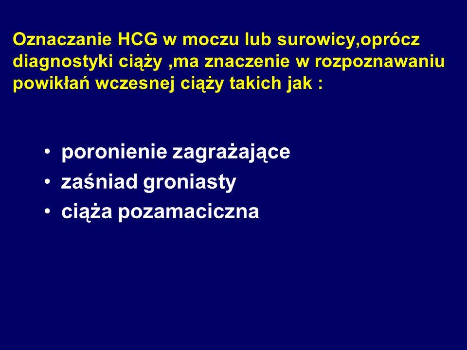 Obecnie stosowane są immunologiczne próby ciążowe : F radioimmunologiczne oznaczanie podjednostki B HCG w surowicy kobiety ciężarnej oznaczanie recept