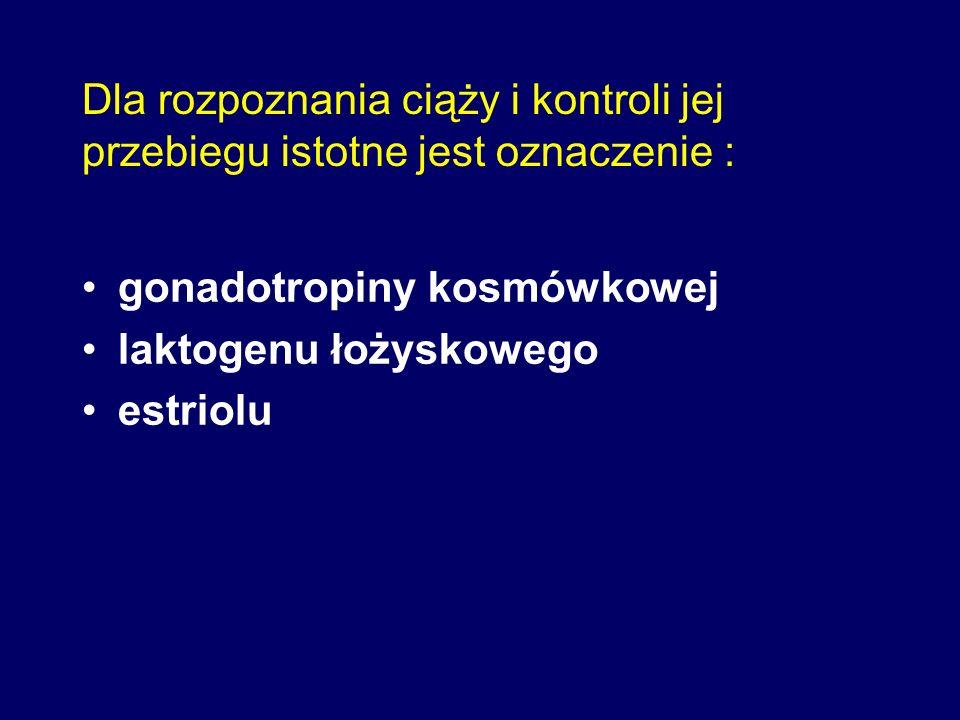 Dla rozpoznania ciąży i kontroli jej przebiegu istotne jest oznaczenie : gonadotropiny kosmówkowej laktogenu łożyskowego estriolu