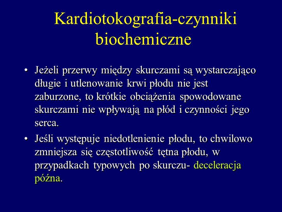Kardiotokografia-czynniki biochemiczne Podczas każdego skurczu macicy następuje ucisk naczyń tętniczych przechodzących przez mięsień macicy i tym samy