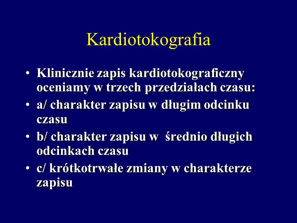 Kardiotokografia-czynniki hemodynamiczne Przerwanie krążenia pępowinowego wskutek ucisku żyły pępowinowej i/lub tętnic pępowinowych powoduje zwolnieni