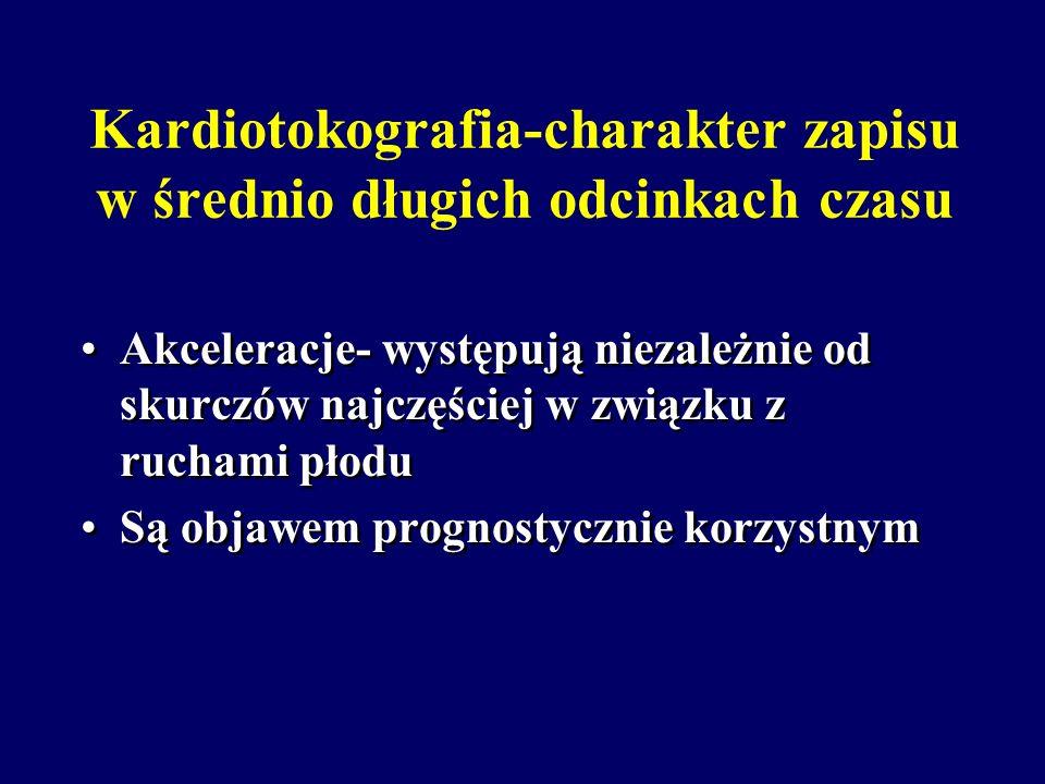 Kardiotokografia-charakter zapisu w średnio długich odcinkach czasu Przyspieszenia tętna płodu- akceleracje, sporadyczne i niezależne od skurczów, okr