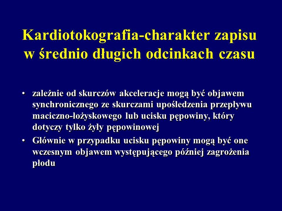 Kardiotokografia-charakter zapisu w średnio długich odcinkach czasu Akceleracje- występują niezależnie od skurczów najczęściej w związku z ruchami pło