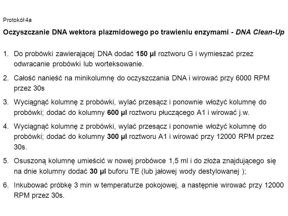 Protokół 4a Oczyszczanie DNA wektora plazmidowego po trawieniu enzymami - DNA Clean-Up 1.Do probówki zawierającej DNA dodać 150 µl roztworu G i wymies