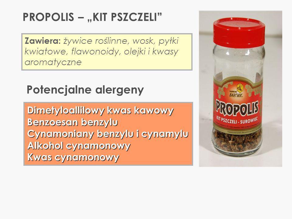 PROPOLIS – KIT PSZCZELI Zawiera: żywice roślinne, wosk, pyłki kwiatowe, flawonoidy, olejki i kwasy aromatyczne Dimetyloallilowy kwas kawowy Benzoesan