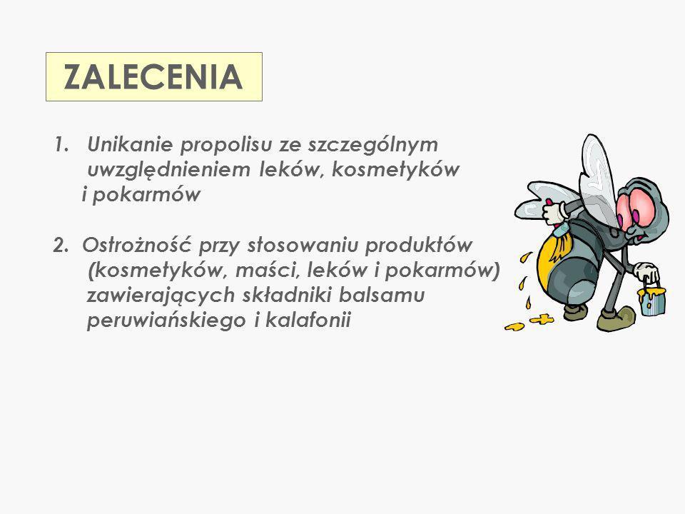 1.Unikanie propolisu ze szczególnym uwzględnieniem leków, kosmetyków i pokarmów 2. Ostrożność przy stosowaniu produktów (kosmetyków, maści, leków i po