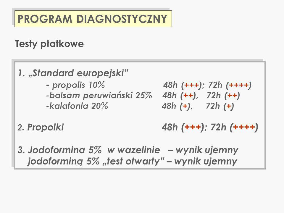 PROGRAM DIAGNOSTYCZNY 1. Standard europejski - propolis 10% 48h (+++); 72h (++++) -balsam peruwiański 25% 48h (++), 72h (++) -kalafonia 20% 48h (+), 7