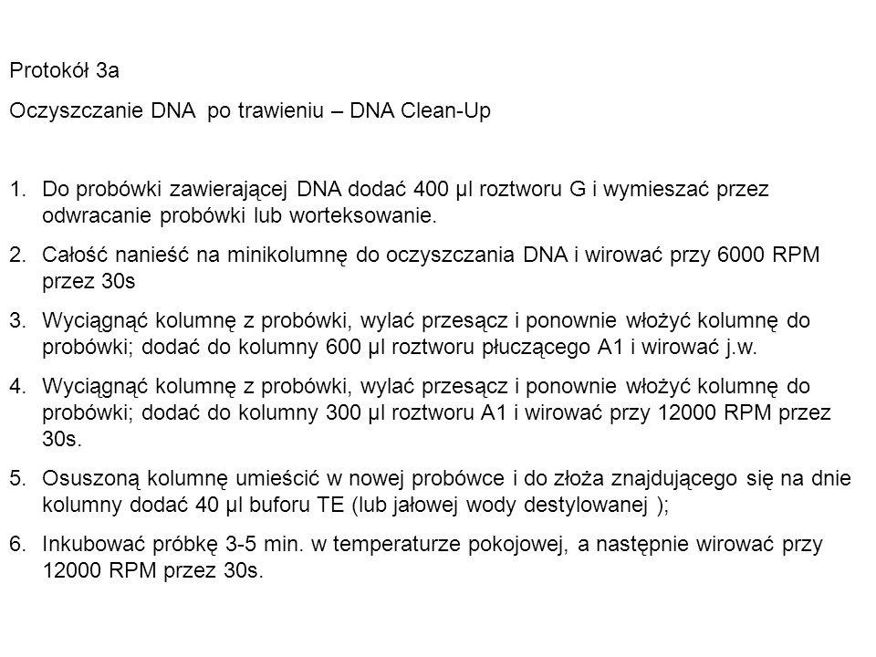 Protokół 3a Oczyszczanie DNA po trawieniu – DNA Clean-Up 1.Do probówki zawierającej DNA dodać 400 µl roztworu G i wymieszać przez odwracanie probówki