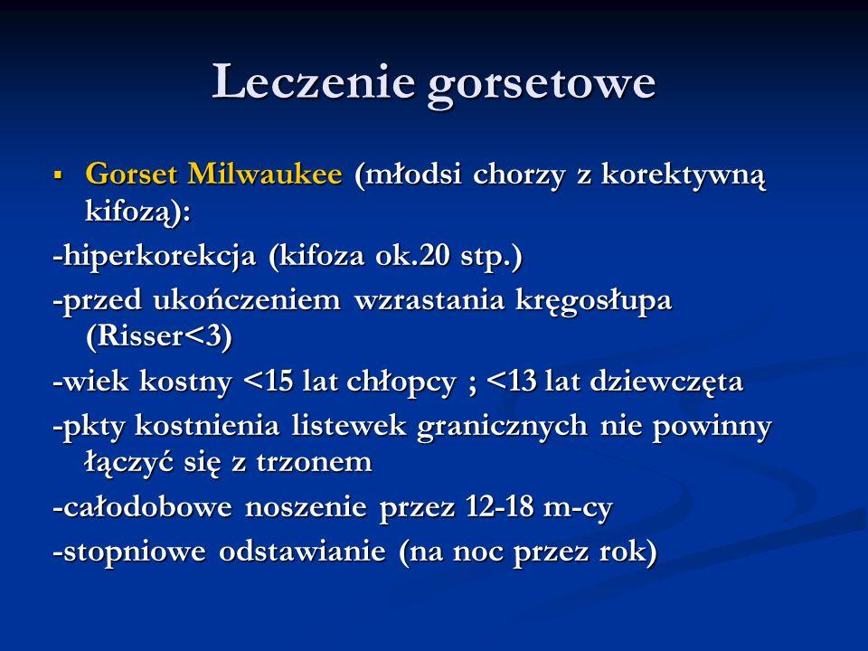 Leczenie gorsetowe Gorset Milwaukee (młodsi chorzy z korektywną kifozą): Gorset Milwaukee (młodsi chorzy z korektywną kifozą): -hiperkorekcja (kifoza