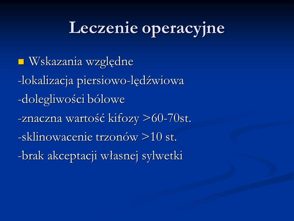 Leczenie operacyjne Wskazania względne Wskazania względne -lokalizacja piersiowo-lędźwiowa -dolegliwości bólowe -znaczna wartość kifozy >60-70st. -skl