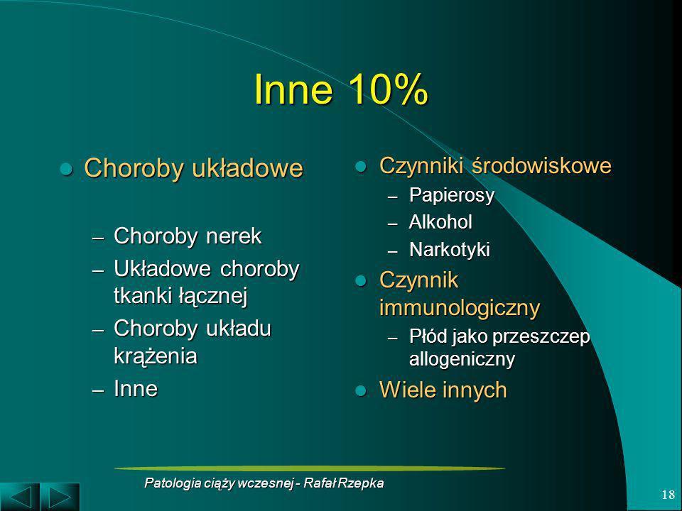 Patologia ciąży wczesnej - Rafał Rzepka 18 Inne 10% Choroby układowe Choroby układowe – Choroby nerek – Układowe choroby tkanki łącznej – Choroby ukła