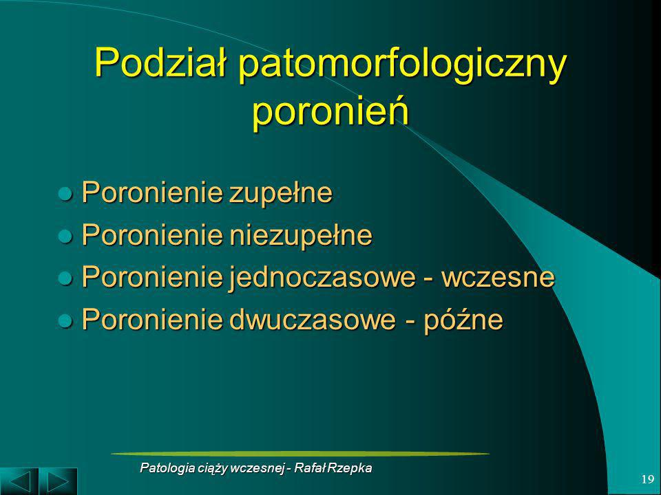 Patologia ciąży wczesnej - Rafał Rzepka 19 Podział patomorfologiczny poronień Poronienie zupełne Poronienie zupełne Poronienie niezupełne Poronienie n