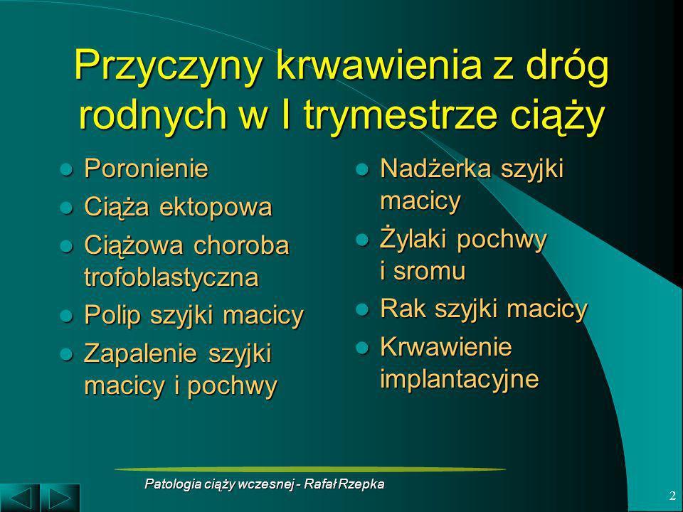 Patologia ciąży wczesnej - Rafał Rzepka 2 Przyczyny krwawienia z dróg rodnych w I trymestrze ciąży Poronienie Poronienie Ciąża ektopowa Ciąża ektopowa