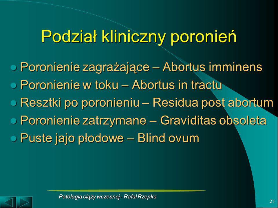 Patologia ciąży wczesnej - Rafał Rzepka 21 Podział kliniczny poronień Poronienie zagrażające – Abortus imminens Poronienie zagrażające – Abortus immin