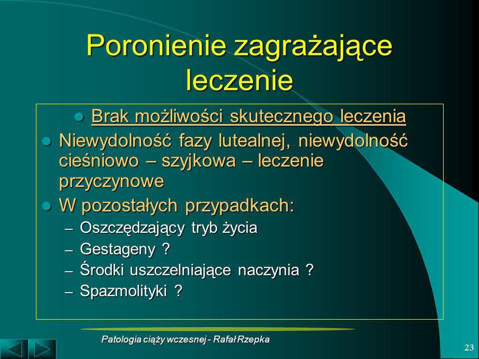 Patologia ciąży wczesnej - Rafał Rzepka 23 Poronienie zagrażające leczenie Brak możliwości skutecznego leczenia Brak możliwości skutecznego leczenia N