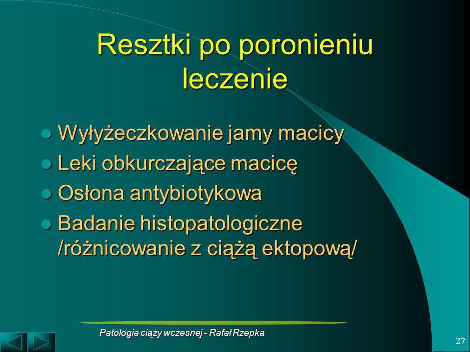 Patologia ciąży wczesnej - Rafał Rzepka 27 Resztki po poronieniu leczenie Wyłyżeczkowanie jamy macicy Wyłyżeczkowanie jamy macicy Leki obkurczające ma