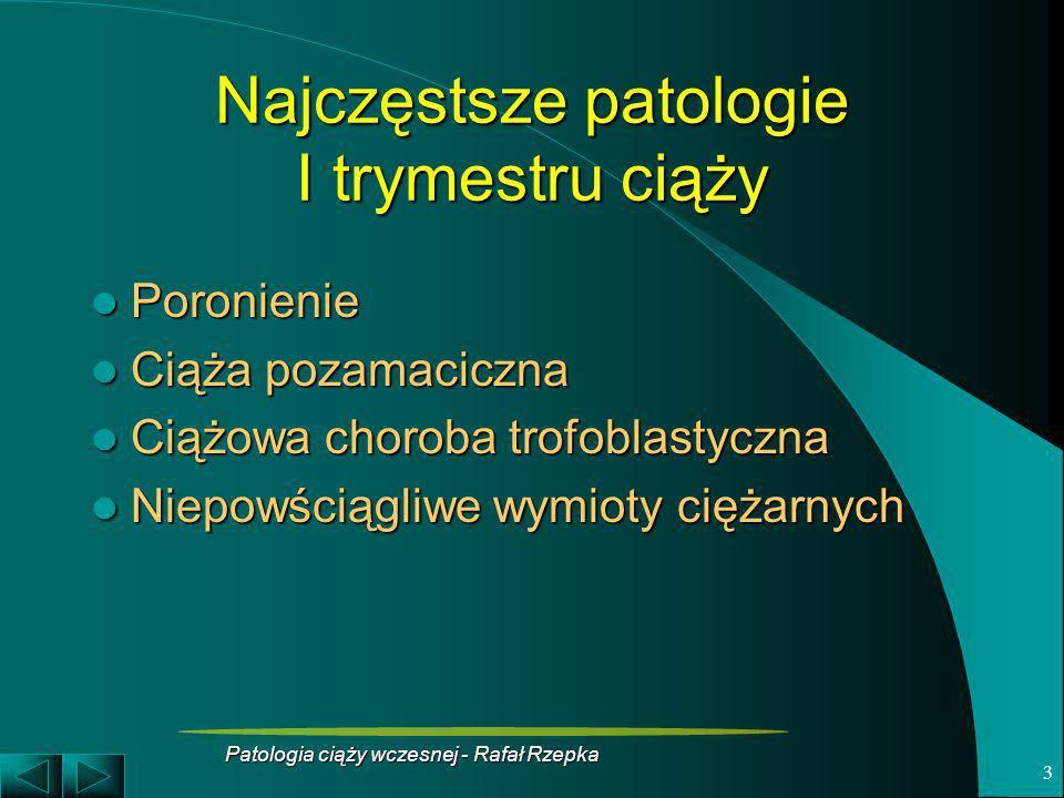 Patologia ciąży wczesnej - Rafał Rzepka 4 Poronienie to wydalenie jaja płodowego przed 22 tyg.