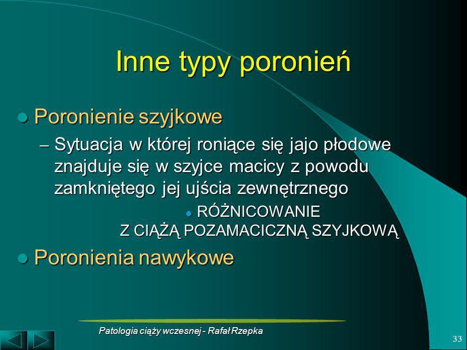 Patologia ciąży wczesnej - Rafał Rzepka 33 Inne typy poronień Poronienie szyjkowe Poronienie szyjkowe – Sytuacja w której roniące się jajo płodowe zna