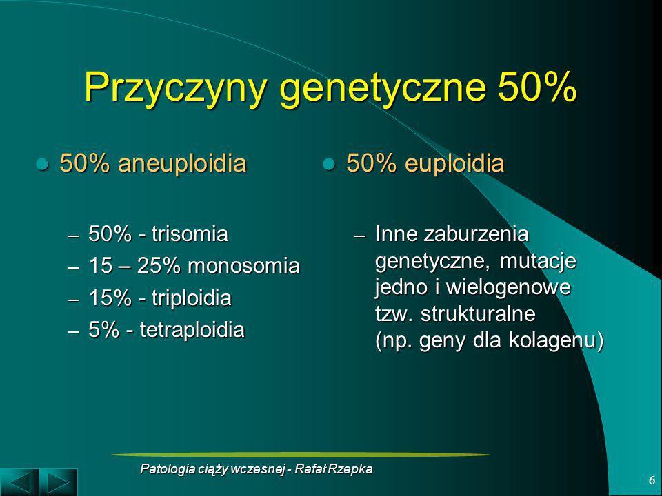 Patologia ciąży wczesnej - Rafał Rzepka 6 Przyczyny genetyczne 50% 50% aneuploidia 50% aneuploidia – 50% - trisomia – 15 – 25% monosomia – 15% - tripl