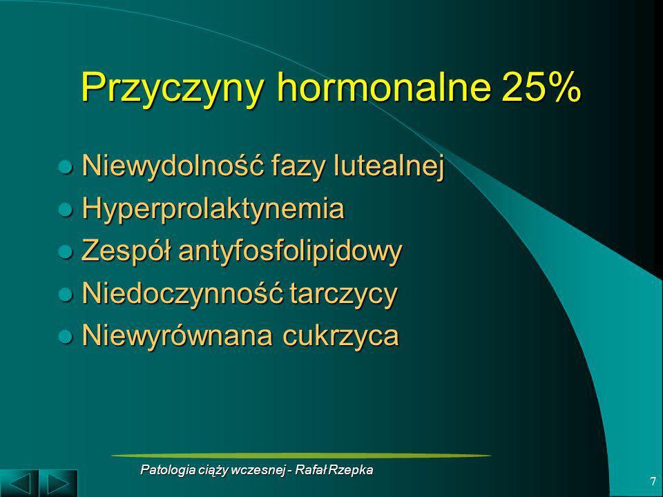 Patologia ciąży wczesnej - Rafał Rzepka 8 Niewydolność fazy lutealnej Nieprawidłowy stosunek progesteronu do estradiolu utrudnia przemianę doczesnową, zapłodnienie i zagnieżdżenie Nieprawidłowy stosunek progesteronu do estradiolu utrudnia przemianę doczesnową, zapłodnienie i zagnieżdżenie Niepłodność lub wczesna strata ciąży Niepłodność lub wczesna strata ciąży