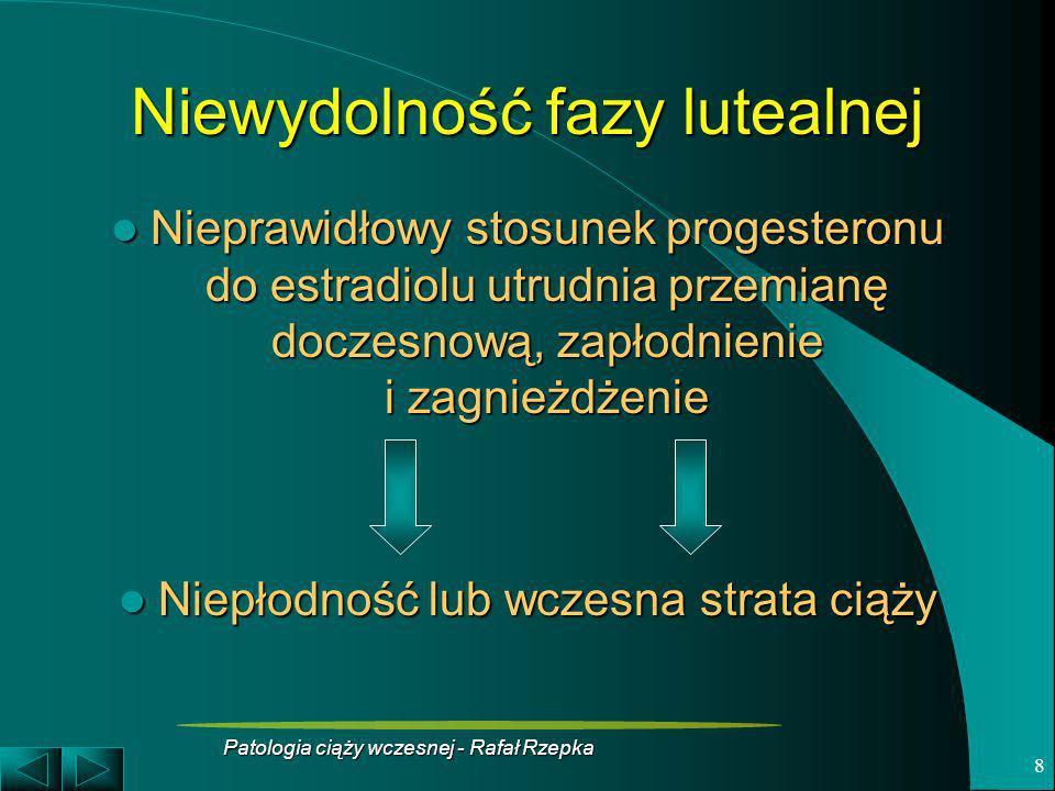 Patologia ciąży wczesnej - Rafał Rzepka 9 Diagnostyka niewydolności fazy lutealnej Biopsja endometrium Biopsja endometrium – Rozbieżność między dniem cyklu a zmianami w błonie śluzowej nie może przekroczyć 3dni Oznaczenia stężenia progesteronu w surowicy krwi Oznaczenia stężenia progesteronu w surowicy krwi – Określenie krzywej wydzielania progesteronu w ciągu całej fazy lutealnej Jednorazowy pomiar stężenia progesteronu Jednorazowy pomiar stężenia progesteronu – Stężenie poniżej 10ng/ml może wskazywać na niewydolność fazy lutealnej