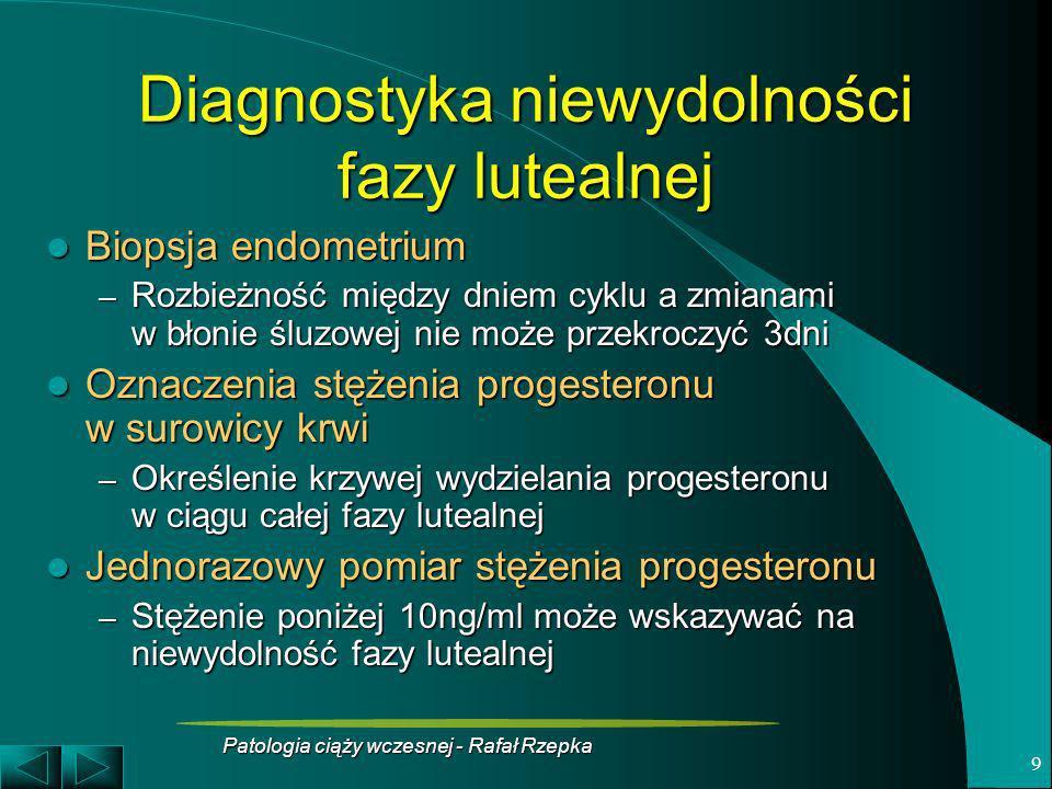 Patologia ciąży wczesnej - Rafał Rzepka 9 Diagnostyka niewydolności fazy lutealnej Biopsja endometrium Biopsja endometrium – Rozbieżność między dniem