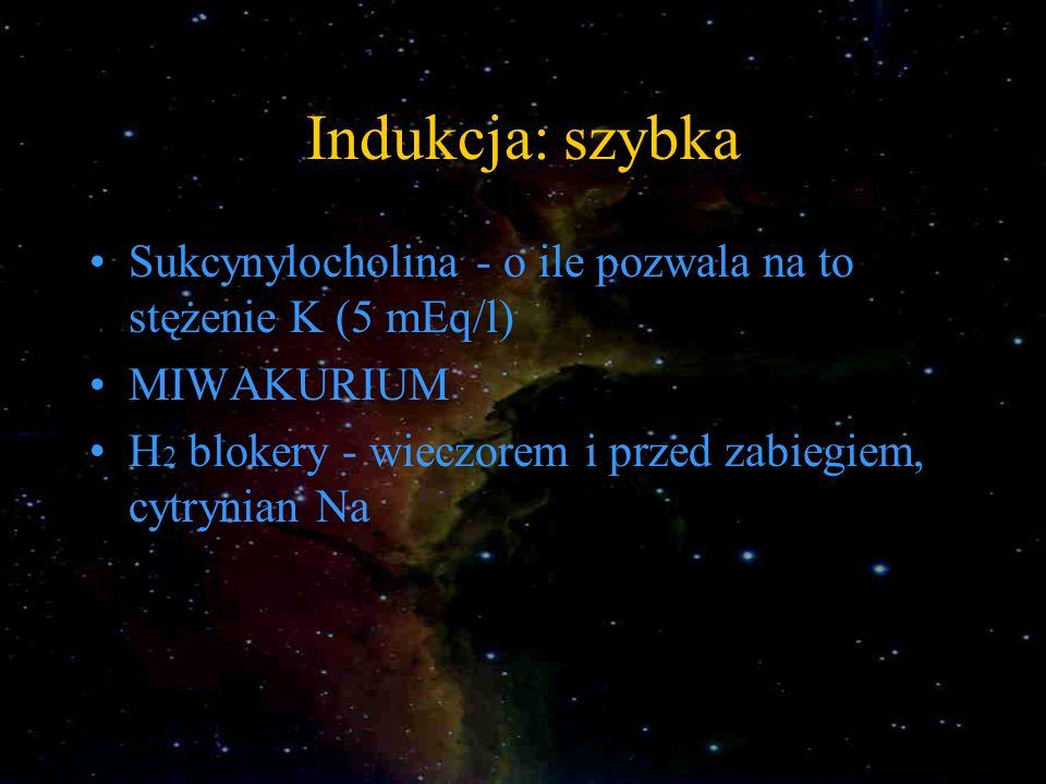 Indukcja: szybka Sukcynylocholina - o ile pozwala na to stężenie K (5 mEq/l) MIWAKURIUM H 2 blokery - wieczorem i przed zabiegiem, cytrynian Na