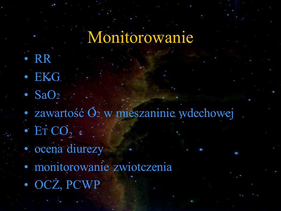 Monitorowanie RR EKG SaO 2 zawartość O 2 w mieszaninie wdechowej E T CO 2 ocena diurezy monitorowanie zwiotczenia OCŻ, PCWP