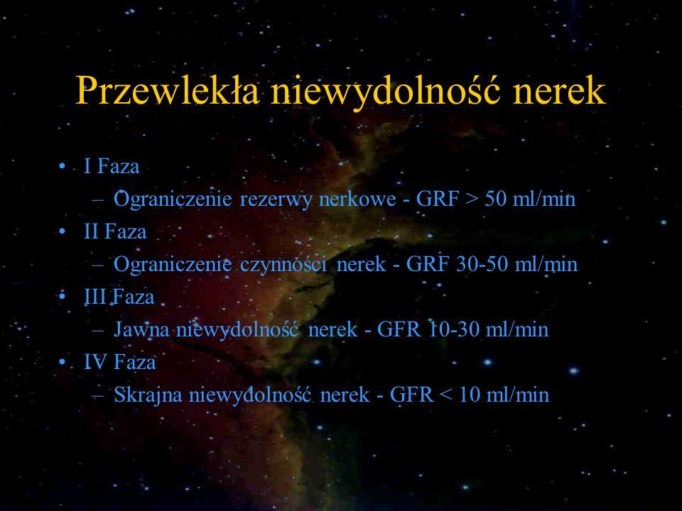 Przewlekła niewydolność nerek I Faza –Ograniczenie rezerwy nerkowe - GRF > 50 ml/min II Faza –Ograniczenie czynności nerek - GRF 30-50 ml/min III Faza