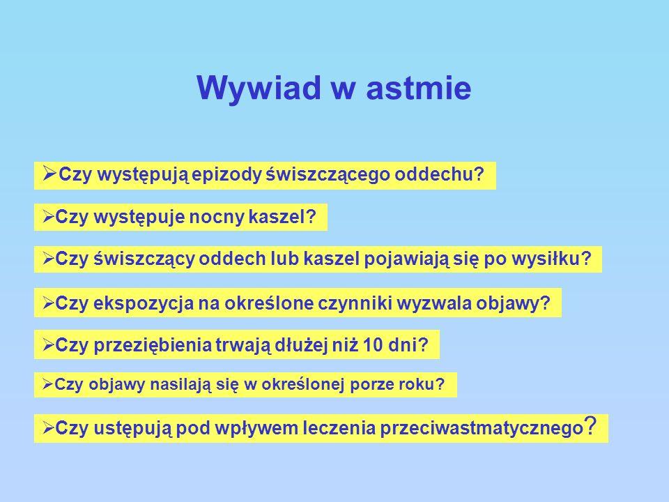 Wywiad w astmie Czy występują epizody świszczącego oddechu? Czy występuje nocny kaszel? Czy świszczący oddech lub kaszel pojawiają się po wysiłku? Czy