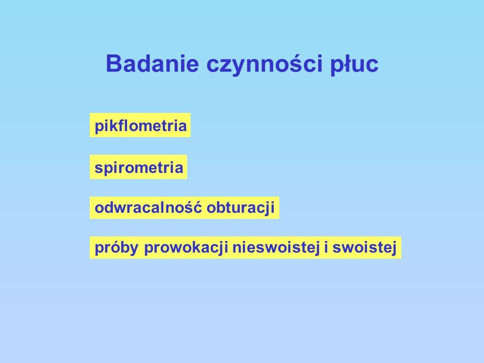 Badanie czynności płuc pikflometria spirometria odwracalność obturacji próby prowokacji nieswoistej i swoistej