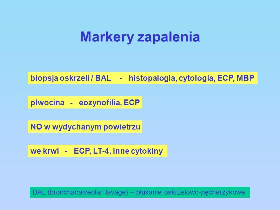 Markery zapalenia BAL (bronchaoalveolar lavage) – płukanie oskrzelowo-pęcherzykowe biopsja oskrzeli / BAL - histopalogia, cytologia, ECP, MBP plwocina