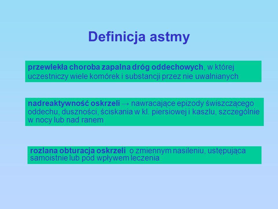 Definicja astmy przewlekła choroba zapalna dróg oddechowych, w której uczestniczy wiele komórek i substancji przez nie uwalnianych rozlana obturacja o
