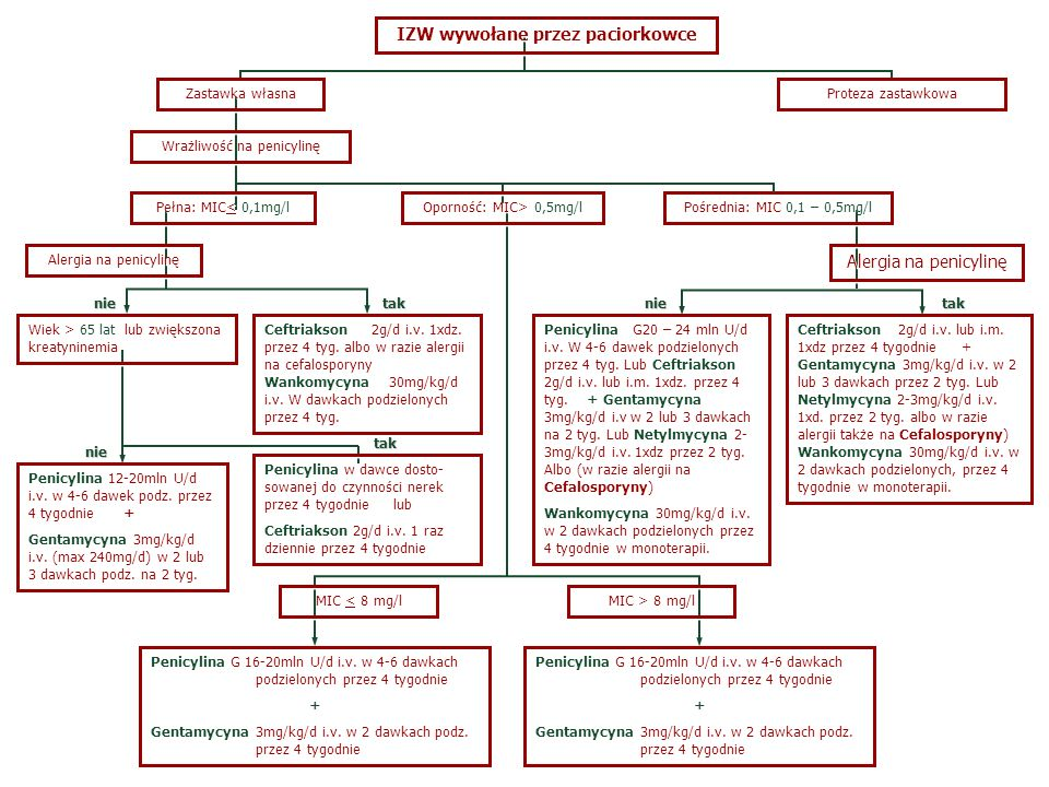 IZW wywołane przez paciorkowce Zastawka własna Penicylina w dawce dosto- sowanej do czynności nerek przez 4 tygodnie lub Ceftriakson 2g/d i.v. 1 raz d