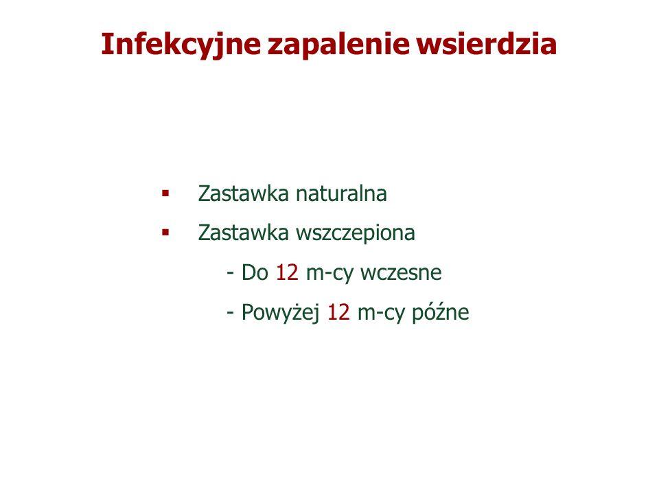 Zastawka naturalna Zastawka wszczepiona - Do 12 m-cy wczesne - Powyżej 12 m-cy późne Zastawka naturalna Zastawka wszczepiona - Do 12 m-cy wczesne - Po