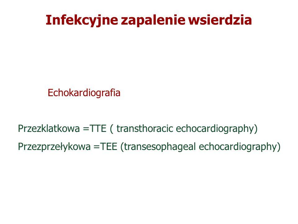 Infekcyjne zapalenie wsierdzia Echokardiografia Przezklatkowa =TTE ( transthoracic echocardiography) Przezprzełykowa =TEE (transesophageal echocardiog